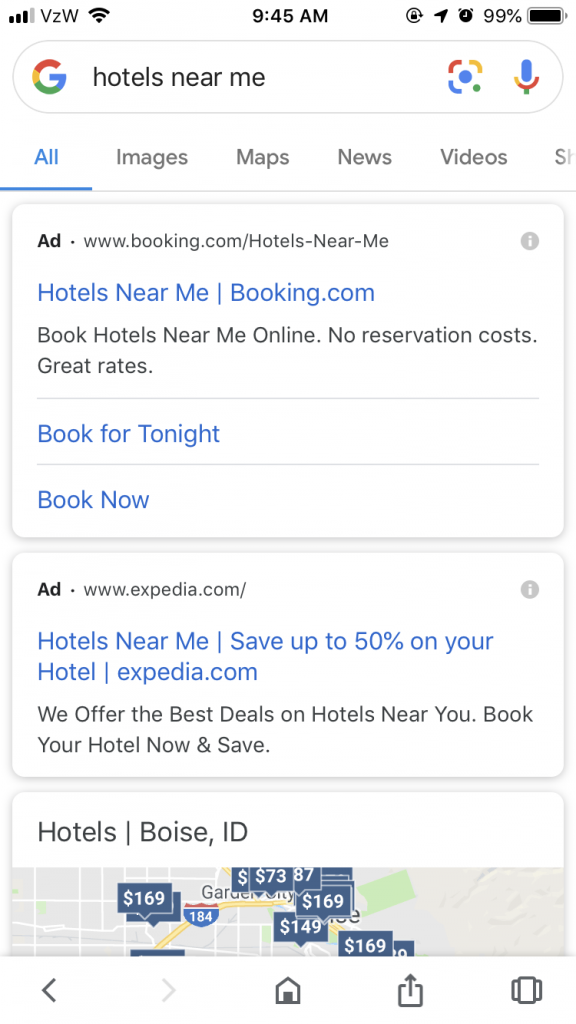Hotel paid advertising - using Google Hotel ads